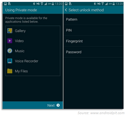 Galaxy S5 using private mode